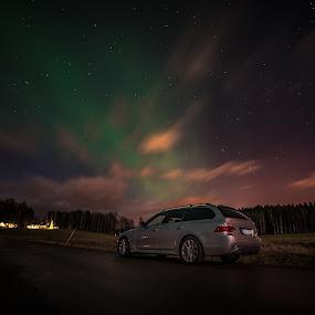 Aurora BMW by Kjell Kasin - Uncategorized All Uncategorized ( sweden, aurora borealis, bmw, landscape, arvika )