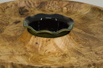 "Photo: Mike Colella 16"" x 1 1/2"" platter [spalted maple, ceramic] (detail)"