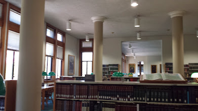 Photo: a bit blurry - but a view of the reference room in the Newberry Library