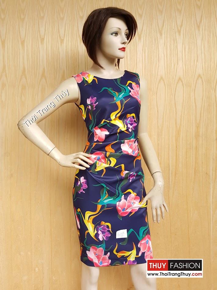 Váy liền nhún eo hoa tiết hoa rực rỡ và nữ tính V462 Thời Trang Thủy