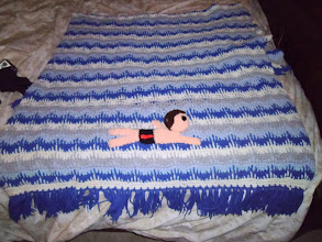 "Photo: This is the afghan that my Mother made me in High School, which was the ""inception"" of my idea.  I asked for me swimming in a pool with lane lines.  But she made it look like the ocean.  That's what got my wheels turning in my head."