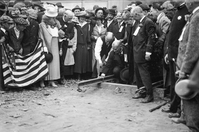 crowd of people around SF city engineer MM O'Shaughnessy in 1917