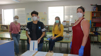 Personal del CEIP Inés Relaño el día que abrieron los colegios.
