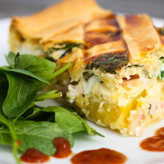 Bacon and Egg Pie with Kumara and Caramelized onions