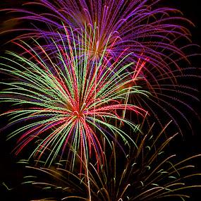 A blast in Butte by Teri Garrison-Kinsman - Public Holidays July 4th ( butte, fourth of july, fireworks display, fireworks celebration, celebrating the fourth of july, fireworks, butte montana )