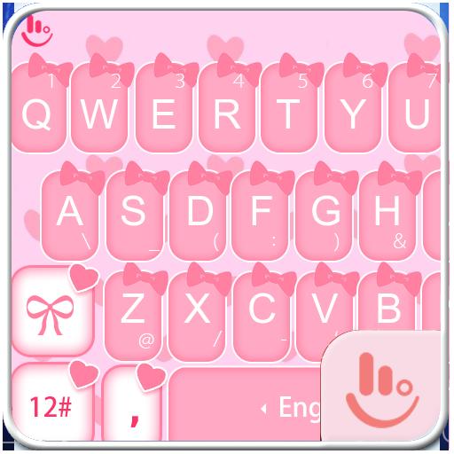 Cute Pink Bow Keyboard Theme