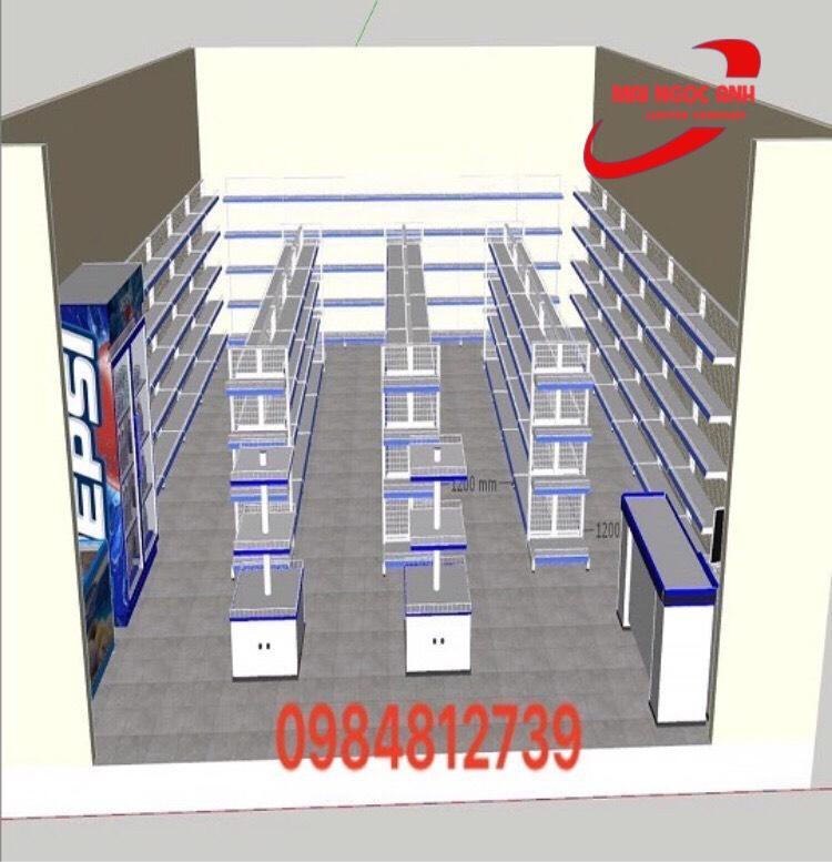 Mô hình lắp đặt kệ siêu thị cho cửa hàng