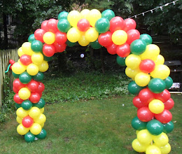 Photo: Colorful Balloon Arch for Outdoors Party by artist Paola Gallardo. Location Grand Rapids - Michigan