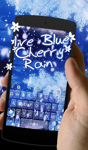 Live Blue Cherry Rain Keyboard Theme 6.4.29.2019 screenshots 1