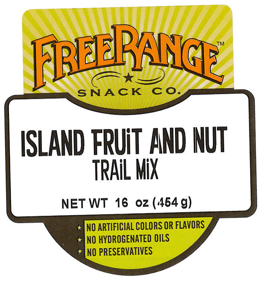 Front Label, Free Range Snack Co. Island Fruit and Nut Trail Mix, 16 oz.