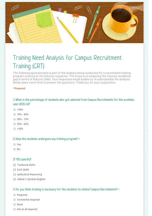 Training Need Analysis for Campus Recruitment Training (CRT)