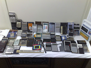 Photo: Vintage Calculators Game Calcs: Casio MG-880 Space Invaders, Casio MG-888 Dice,  Enterprex Black Jack BJ-21,  Texas Instruments D.A.T.A.M.A.N    Tandy Math Teacher, Radio Shack Math Tutor, Sharp Elsi Mate EL-620 Voice Synthesized Caculator, Casio ST-1 Stop Watch,  Sharp Elsi Mate EL-120, Armitron 40/6349N Memo Watch,  Sharp Elsi Mate EL-1195 Electronic Printing Calculator, Sharp Elsi Mate El-326 Solar Cell,    Casio AQ-1000 (Watch, Alarm, Stopwatch),  Casio Melody 80, Casio Personal M1,  Ronica R12 Ruler Calculator Watch Casio AL-8, Casio Mini Card LC-787  Caltronic 606,  Fix Pac Portadial 64b Phone dialer calculator,  Sports Computer Score Log Bowling, HP 12-C, HP 41CX (surveying1 pac & overlays) Sharp EL-6120 Pocket Data Book, Sharp Elsi Mate EL-208,  Casio HL-101, Casio FX-20,  Panasonic JE-8801U, Panasonic JE-8005U, Panasonic 8203, Hanimex BC 8070, Hanimex Pocket Calculator, Olympia CD43S,  Slim Card Solar Cell Calculator 111, Solar Calculator With the compliments of PostBank,  Coca Cola e-pad