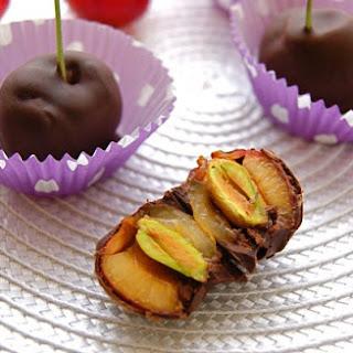 """Dark Chocolate-Dipped Fresh Cherries with Pistachio """"Pits"""""""