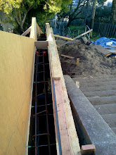 Photo: Framework for new retaining wall on Hidden Garden Steps site installed by San Francisco Department of Public Works as repair work continues on Hidden Garden Steps (16th Avenue, between Kirkham and Lawton streets in San Francisco's Inner Sunset District) in early 2013 ; for more information about the Hidden Garden Steps project, please visit http://hiddengardensteps.org.