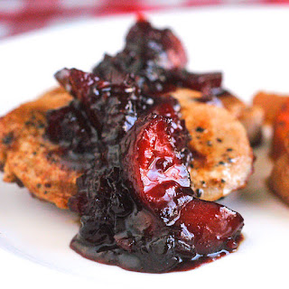 Blueberry Plum Chutney on Pan Seared Pork Chops Recipe