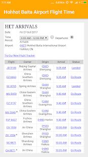 Hohhot Baita Airport Flight Time - náhled