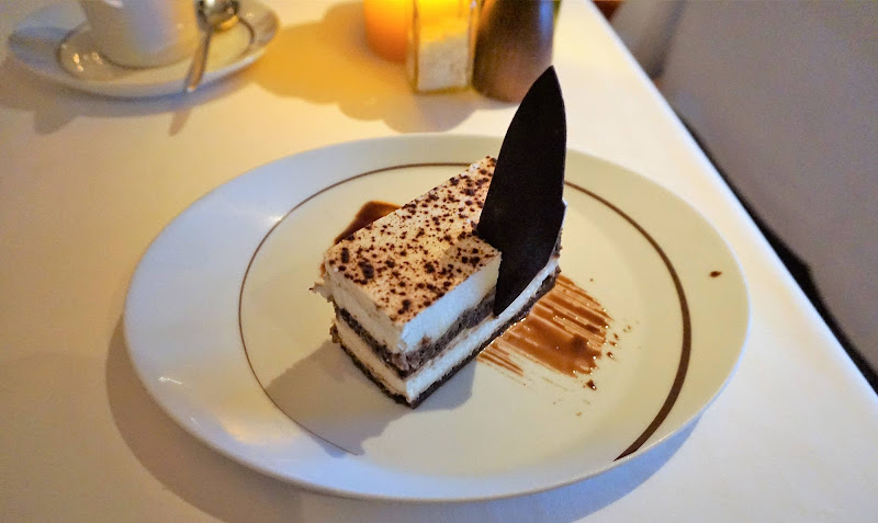 A finely textured tiramisu dessert at La Cucina on deck 8 of Norwegian Getaway.