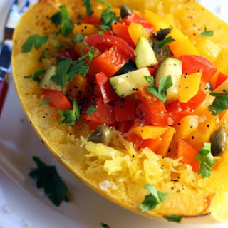 Confetti Spaghetti Squash With Peppers, Zucchini, Lemon And Capers