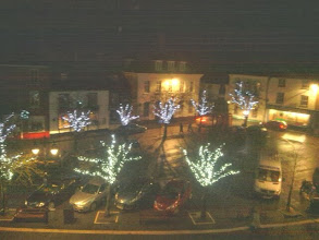 Photo: The market place xmas lights, primarily in the trees, with flooding a possibility instead of snow.
