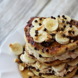Chocolate Peanut Butter Banana Protein Pancakes