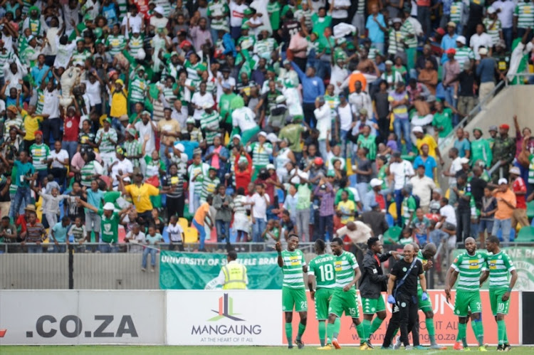 Celtics and their fans celebrating their goal during the Absa Premiership match between Bloemfontein Celtic and Bidvest Wits at Dr Molemela Stadium on October 01, 2017 in Bloemfontein, South Africa.