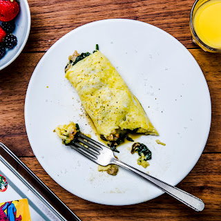 Chicken Sausage Omelet with Greens and Cheese.
