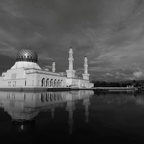 by Ed ARS - Buildings & Architecture Places of Worship ( reflection, b&w, waterscape, exterior, mosque, landscape )