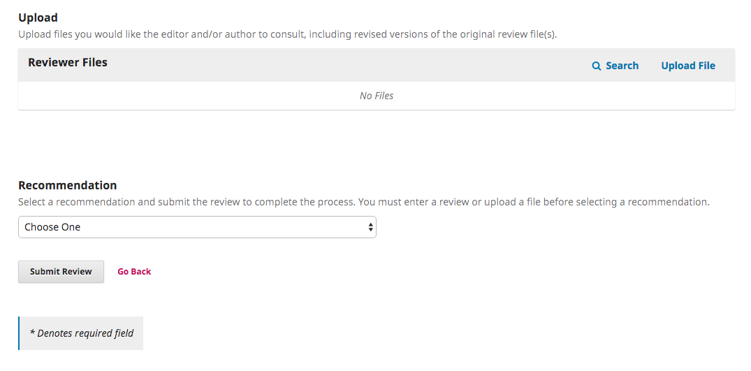 The upload reviewer files and review recommendation drop down