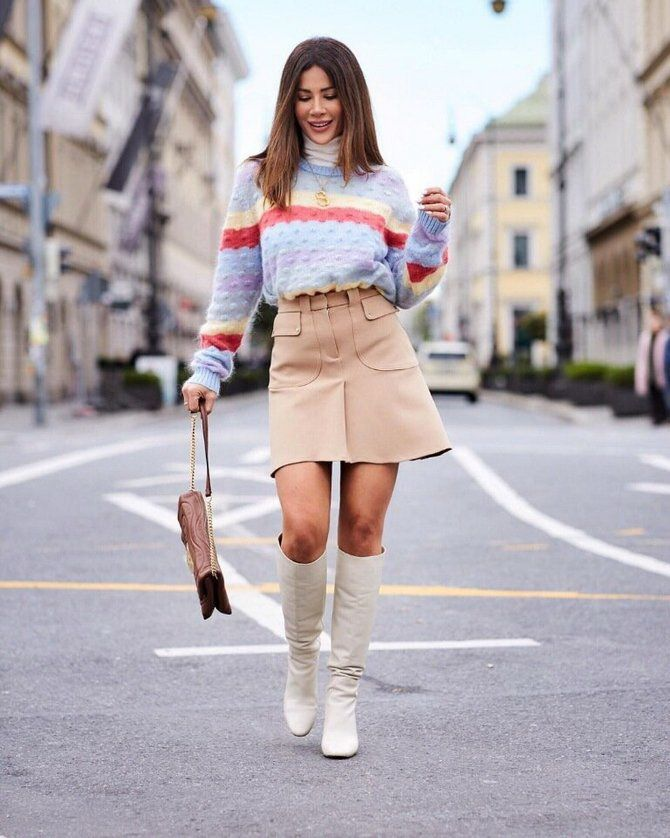Sweater and a skirt: the most fashionable winter combinations 21