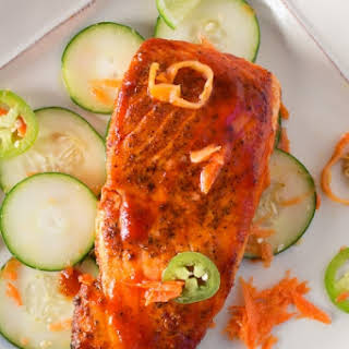 Grilled Salmon with Honey-Sriracha Sauce and Spicy Cucumber Salad.