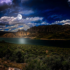 Mountain Lake by Moonlight by Eugene Linzy - Landscapes Mountains & Hills ( clouds, mountains, hdr, night, full moon, lake )