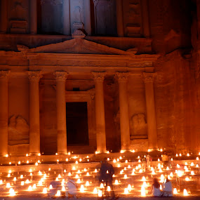 Petra by candlelight by Eason Jordan - City,  Street & Park  Vistas