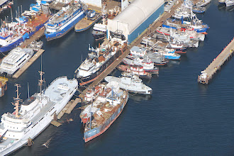 Photo: Boats in Ballard. Ian took all these photos from the plane, because, as the co-pilot, I was busy (not really. I just didn't have room for the camera AND my huge feet)