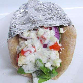Chicken Gyros with Tzatziki Sauce.