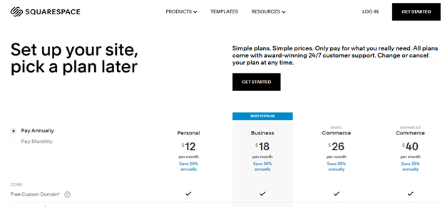 squarespacce pricing plans