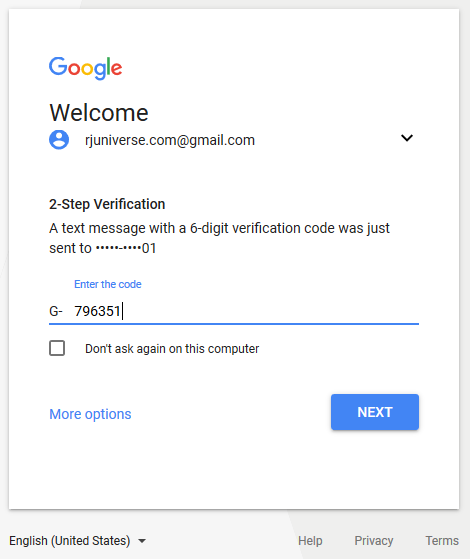Sign In to Gmail - type your two step verification code