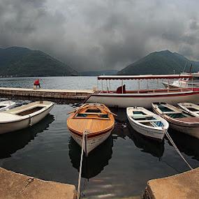 parking by Branislav Rupar - Landscapes Waterscapes ( harbor, sea, boat, olympus    hdr    montenegro   perast )