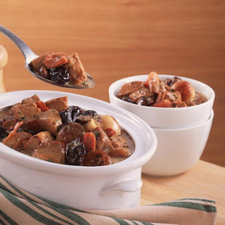 Pork and Bacon Casserole with Prunes.