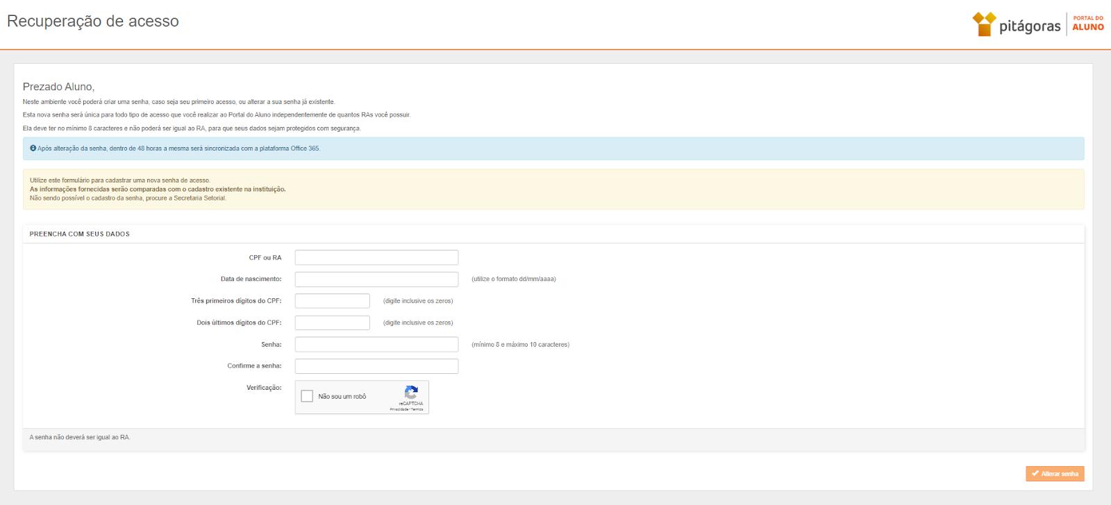 recuperação de acesso portal do aluno pitágoras