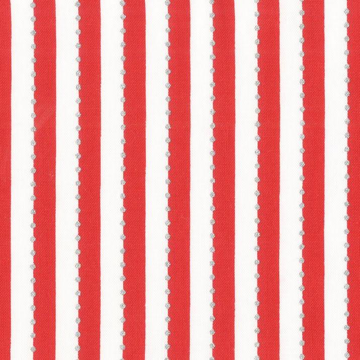 Rött Randigt tyg med silverprickar (16525)