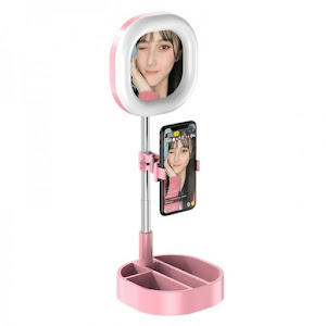 Oglinda cu lampa Ring Light 64 LED si suport telefon, inaltime 167 cm