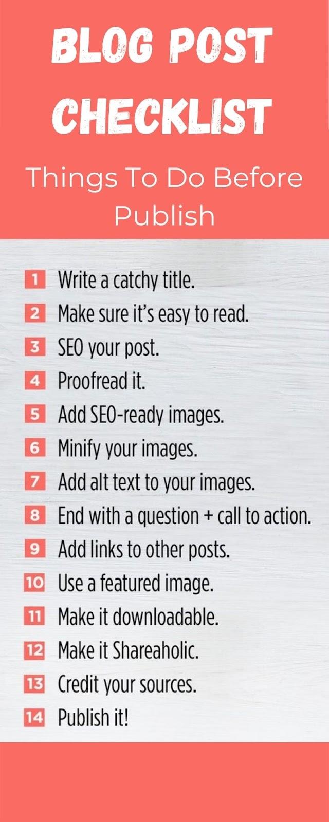 checklist for blog publishing