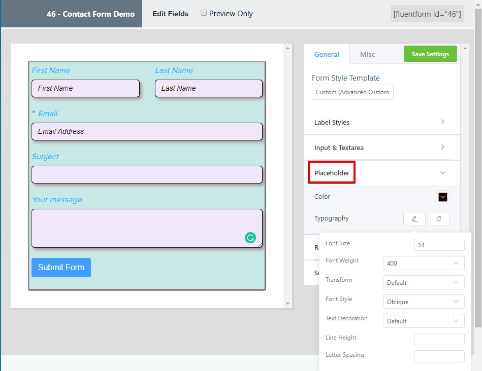 styling contact forms