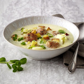 Chunky Potato and Pear Soup with Herb Meatballs.
