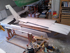 Photo: Primer with guide coat on left wing and canard.