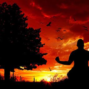 Meditating by Dean Hakeem - People Fine Art