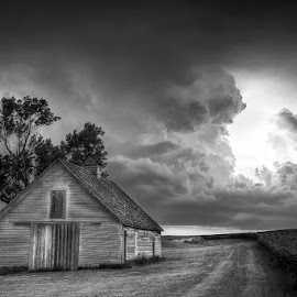 Summer Storm by Ken Smith - Buildings & Architecture Decaying & Abandoned ( thunderstorm, black and white, landscape, nebraska )