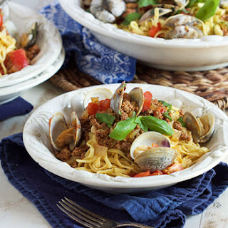 Linguine with Clams Chorizo and Roasted Tomatoes.
