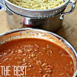 The Best Spaghetti Sauce Ever {Semi-homemade Style}.