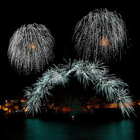 Bridge of Colors by Renata Apanaviciene - Abstract Fire & Fireworks ( maltese, malta, fireworks )